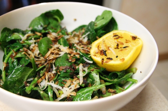Spiced coconut spinach salad recipe