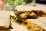 quick dinner recipe, banana curry quesadilla with chicken.
