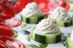 cucumber circles with piped boursin cheese