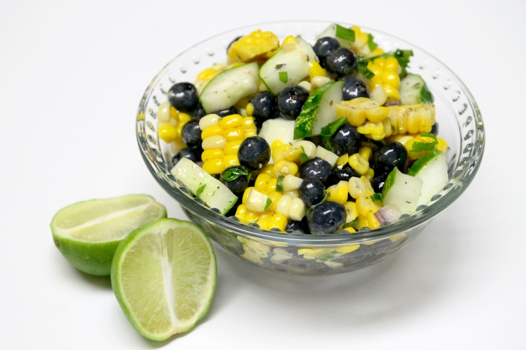 photo of blueberry corn cucumber and basil salad from recipesinternational